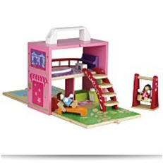 Box Portable Wooden Dollhouse Set